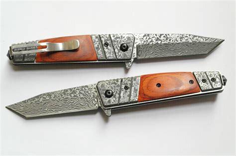 knife pattern etching vintage case folding knife tactical hunting knife damascus