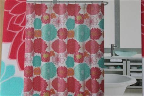 orange and aqua curtains cynthia rowley floral fabric shower curtain pink orange