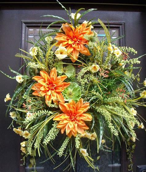 Summer Door Wreath by Door Wreaths Summer Wreath Petunia Wreath Orange And