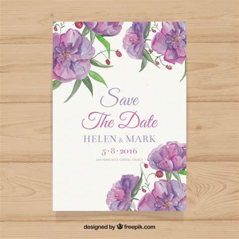 convite de casamento flores em aquarela convite do casamento da aguarela flores roxas baixar