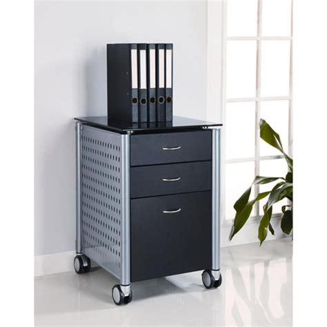 Glass File Cabinet Innovex Mobile Filing Cabinet Black Glass Furniture Walmart