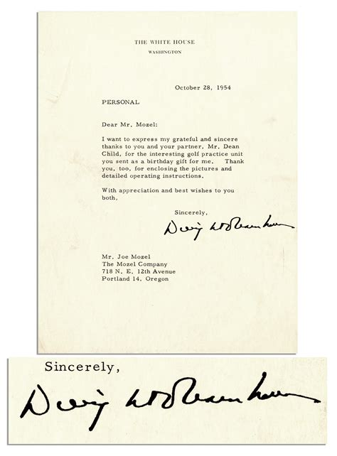 Gift Letter Signed Lot Detail Dwight Eisenhower Typed Letter Signed As President Thanks To You For The