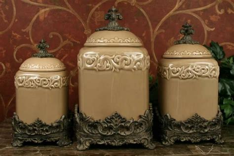 designer kitchen canister sets tuscan drake design taupe kitchen canisters s 3