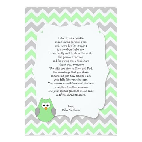 Baby Shower Thank You Poems by Mint Green Owl Baby Shower Thank You Notes W Poem Card