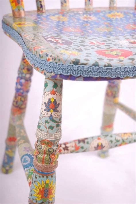 blue wooden chair decoupage upcycled Tallulah by