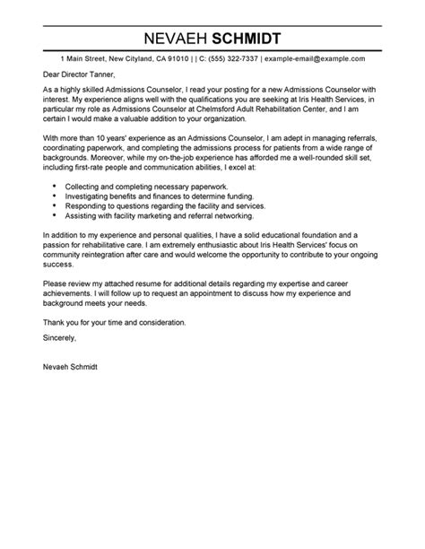 cover letter for admissions officer admissions counselor cover letter sle cover letters