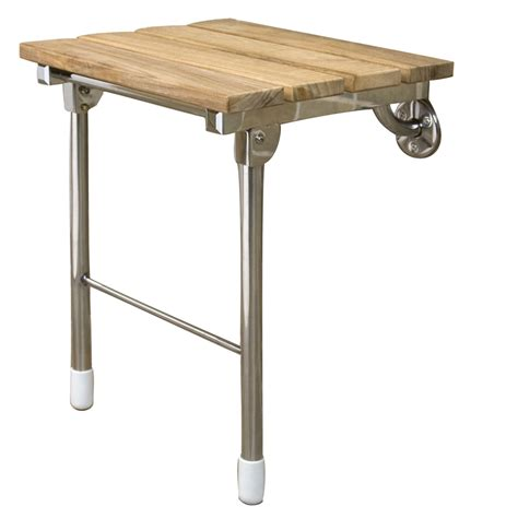 lowes shower bench shop barclay stainless steel teak wall mount shower seat