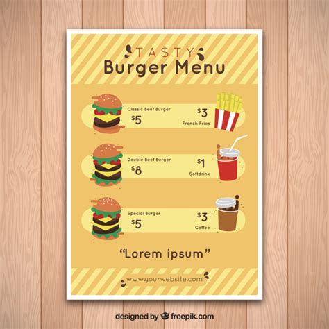 Fast Food Menu Template by Fast Food Menu Template With Tasty Burgers Vector Free