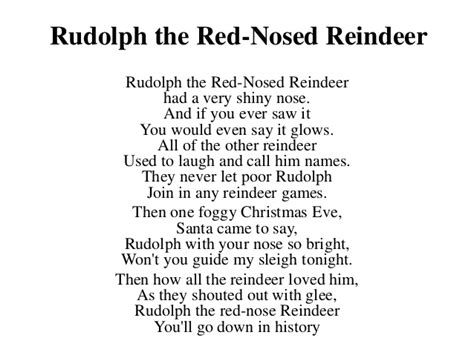 printable lyrics to rudolph the red nosed reindeer 1st grade songs