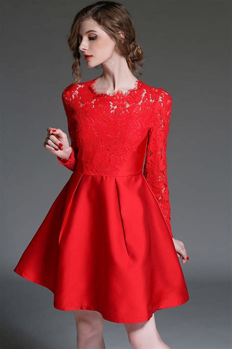 red crochet lace pleated   dress   long