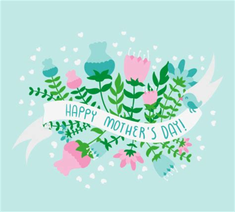 cartoon mothers day flowers  ribbon vector