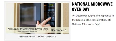 Microwave National reflections national microwave oven day dec 6