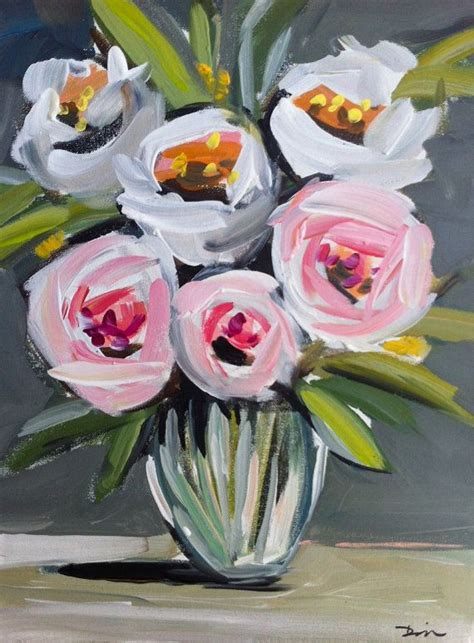 boat canvas dallas roses peonies abstract painting canvas by marendevineart