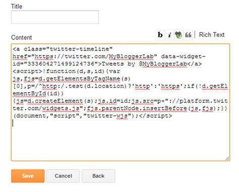 cara membuat twitter feed cara menambahkan widget twitter feeds di blogger info saku