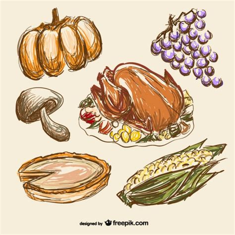Kitchen Design Drawings thanksgiving food drawings vector free download