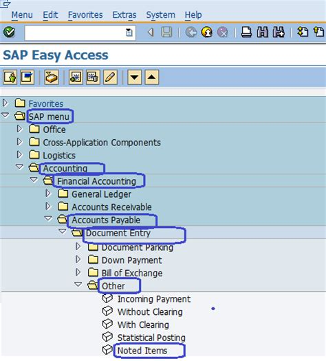 sap tutorial for accounts payable vendor noted items sap accounts payable sap menu path