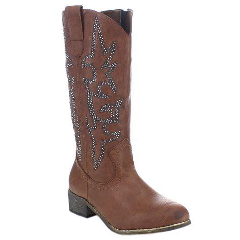 new womens fashion chunky heel side zip western cowboy