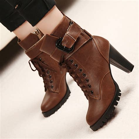 brown chunky heel ankle boots on luulla