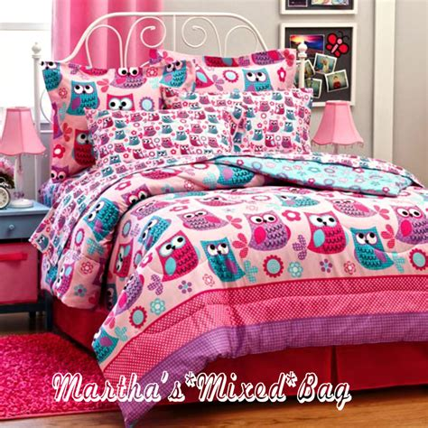 girls full bed hoot owls girls pink teal nature flowers twin full queen