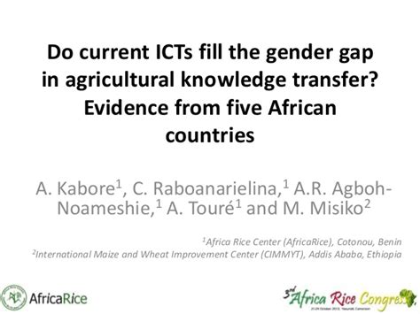 Do Mba Credits Transfer by Th5 Do Current Icts Fill The Gender Gap In Agricultural