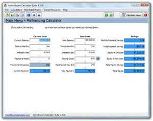 refinance calculator home home buyers calculator suite screen