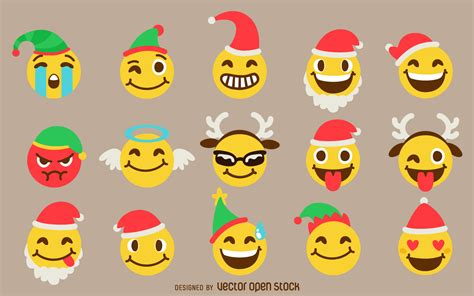 images of christmas emojis christmas emoji set free vector