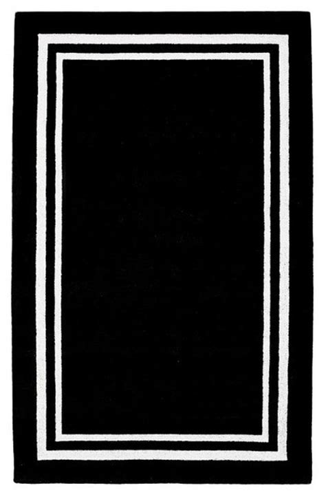 black rug with white border decorator border rug black rugs other metro by pbteen
