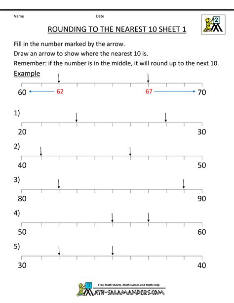 printable number line for rounding rounding to the nearest ten worksheets free worksheets