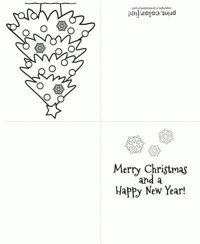 christmas tree greeting card coloring page print color
