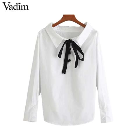 vadim sweet back lace up bow tie shirts black white blouse european style