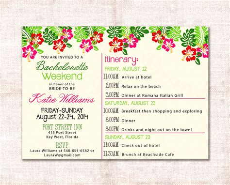 Bachelorette Itinerary Template Etsy Party Weekend Invitation And Custom Printable 5 215 7 Mughals Bachelorette Itinerary Template Free