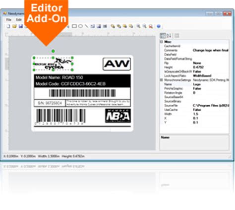 airport design editor object library create preview print barcode thermal labels with c