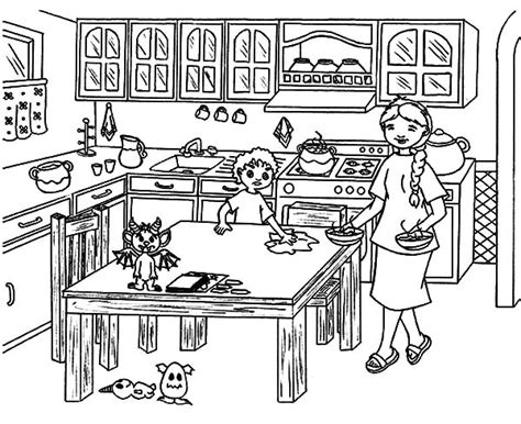 mom in kitchen coloring pages sketch coloring page