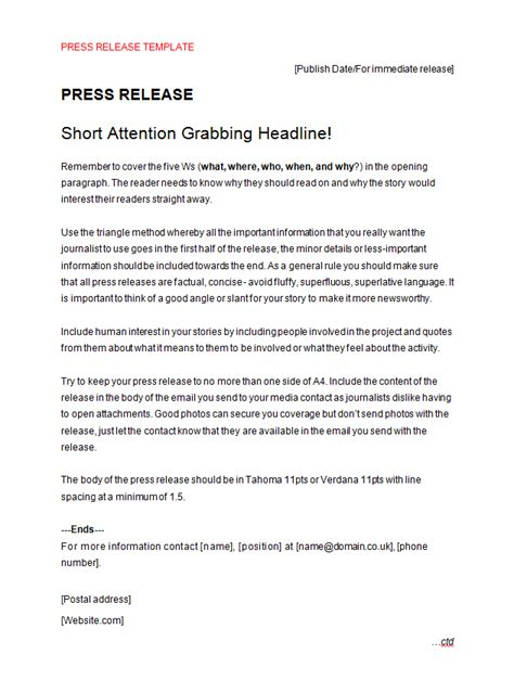 Press Release Template Making Music News Release Template Free