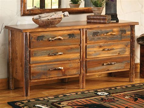 Pine Log Dresser by Pine Crest Log 6 Drawer Dresser