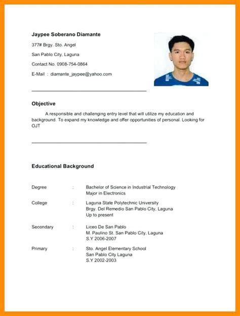 ojt sle resume narrative report coca cola caregiv and resume for entrepreneurs exles dbq
