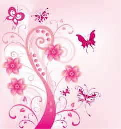 pink floral swirl with butterfies vector illustration