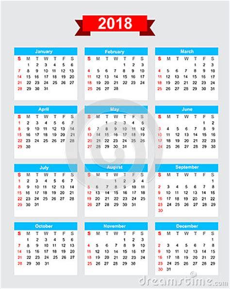 Calendar 2018 Starting Sunday 2018 Calendar Week Start Sunday Stock Vector Image 60740491