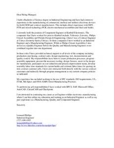 Industrial Cover Letter by Phillips Leonard Cover Letter