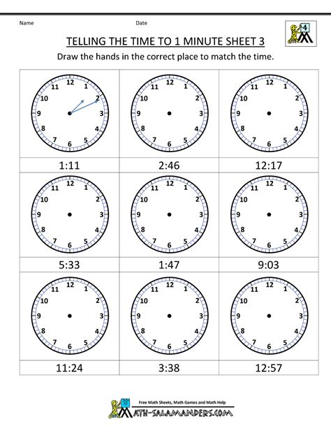 free printable time math sheets clock worksheets to 1 minute