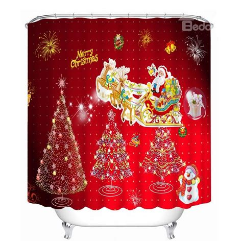 christmas bathroom curtains cute santa riding reindeer and christmas tree printing