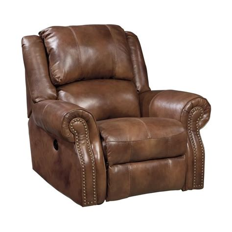 Ashley Walworth Leather Rocker Recliner in Auburn   U7800125