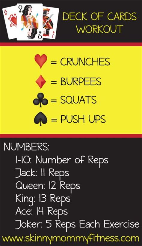 printable deck of cards workout 25 b 228 sta mountain climber exercise id 233 erna p 229 pinterest