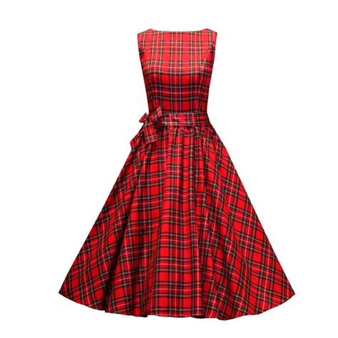 Dress Line S 2018 s vintage checked a line dresses m in