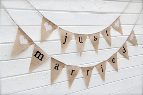 Wedding Banner Burlap by Burlap Banner Just Married Wedding Banner With By