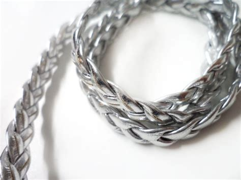 Eyo Jewelry Sb 009 Silver 5 yards silver faux leather braided ribbon trim 0 3