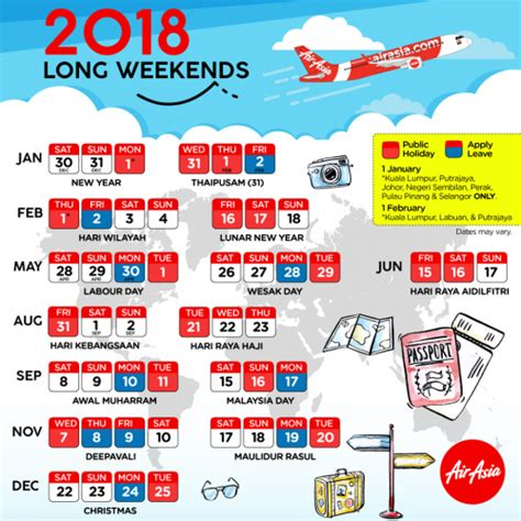Calendar 2018 With Holidays Malaysia Weekends Malaysia 2018 Plan Your Leave