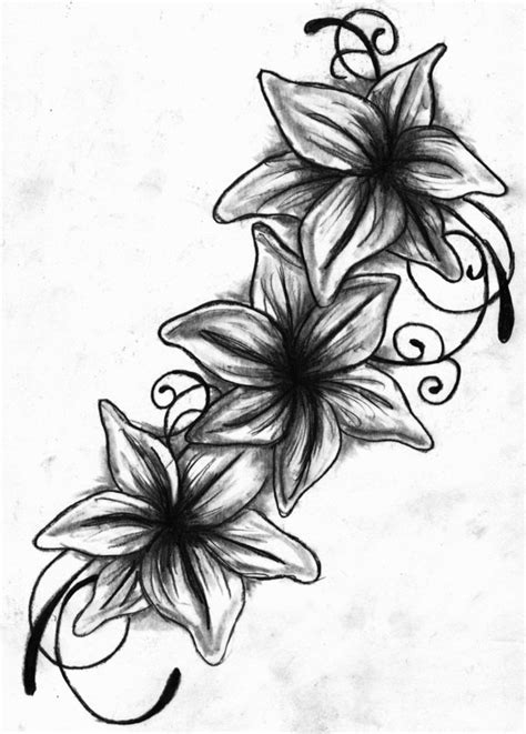 lily tattoo drawing black and white by missperple on