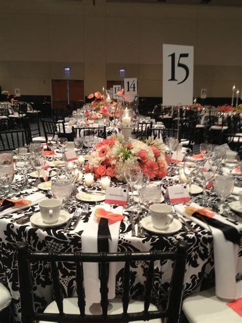 Black, white and coral   stunning   Event Decor Ideas