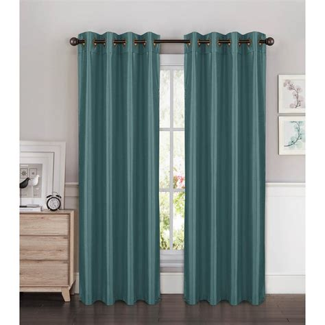 Grey And Teal Curtains Window Elements Semi Opaque Faux Silk Wide 96 In L Grommet Curtain Panel Pair Grey